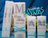 Monogram Bling Unity Candle Complete Set Square Personalized