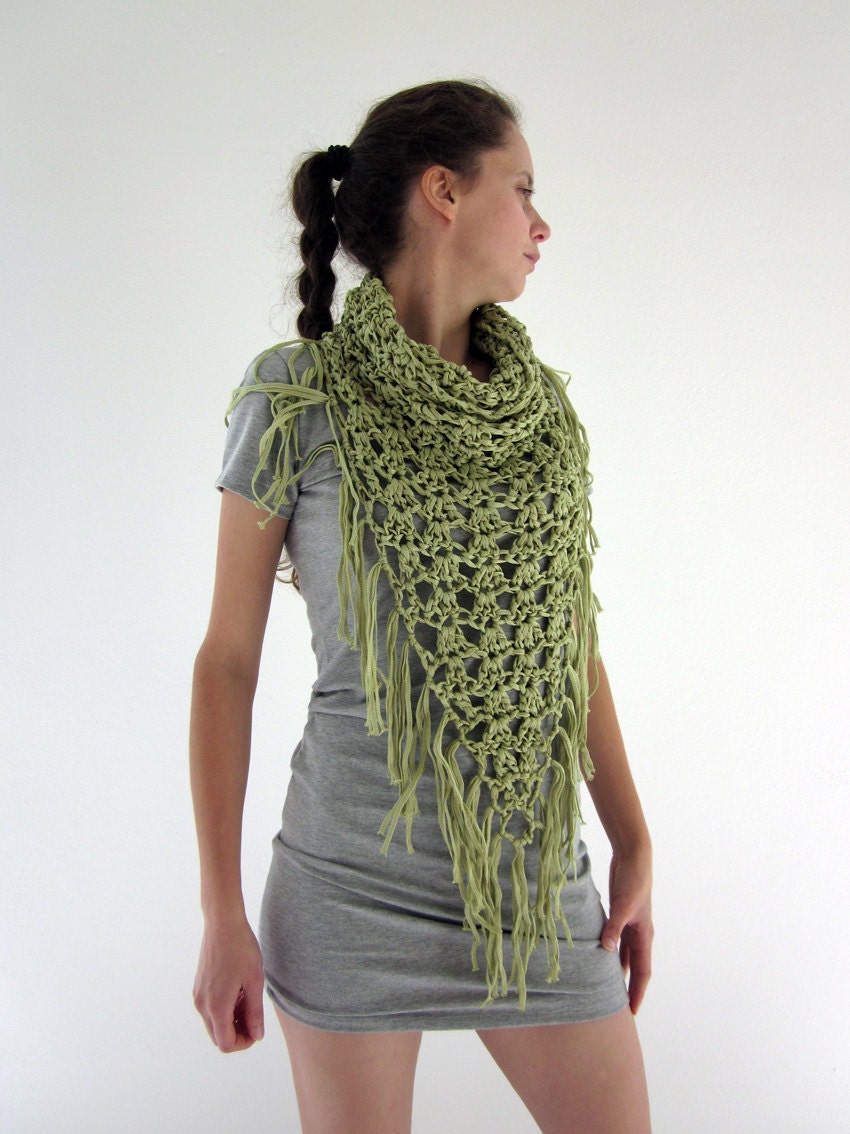 Crochet fringe cowl neck scarf in lime green by AmeBa77 on Etsy Cowl Neck Scarves Crochet