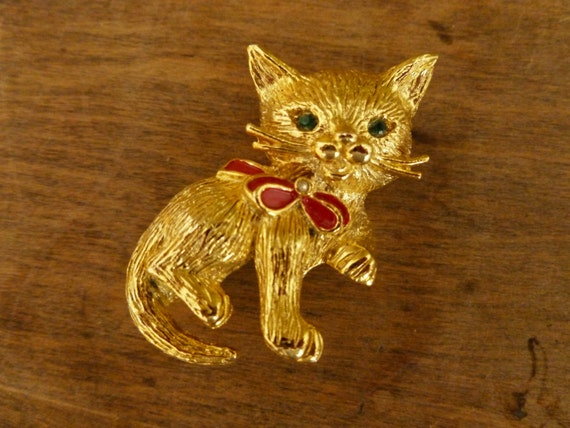 Vintage Goldtone Kitty Cat Pin