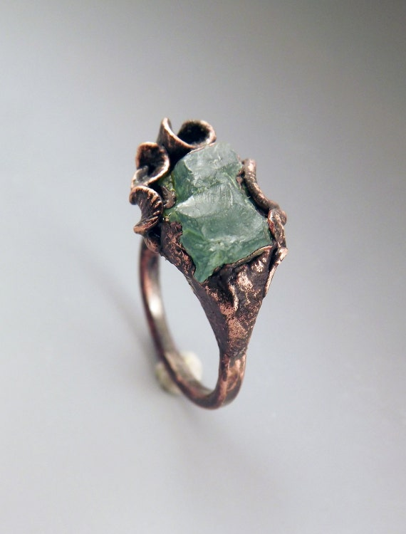 Apatite and Copper Ring- Electroformed- Metal Art Ring- Cala Lily- One of a Kind Sculpture