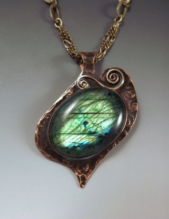 Emerald Green Labradorite- Smokey Bronze Patina- Metal Art Pendant Necklace