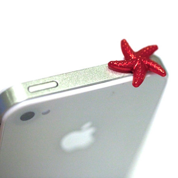 Kawaii RED STAR FISH Iphone Earphone Plug/Dust Plug - Cellphone Headphone Handmade Decorations