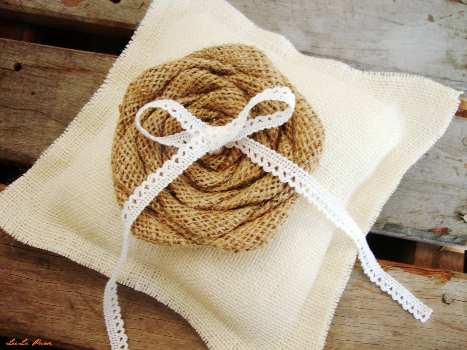 Ring Bearer Pillow Burlap Pillow Rustic wedding by LeelaPurse