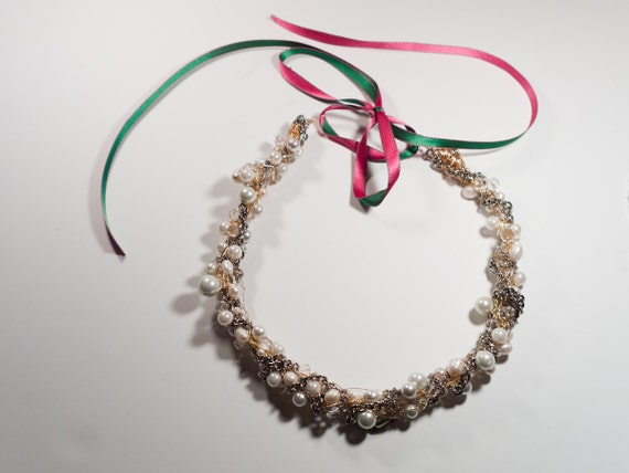 Ornate gold and silver crocheted neck piece with swarovski crystals and pearls