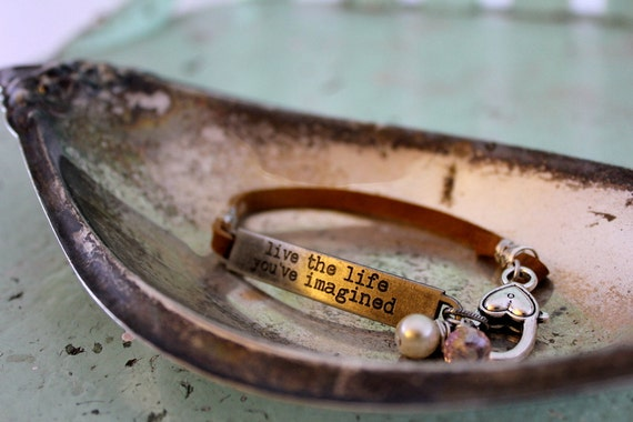 "Quote Leather Bracelet ""Live the Life You've Imagined"" with Pearl and Crystal"