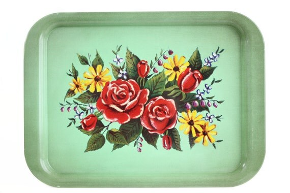Vintage Metal Tray Mint Green Avocado Flower Lap TV Vanity
