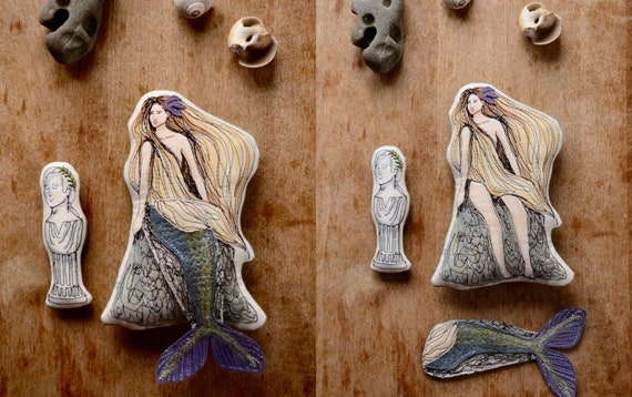 Cloth Mermaid Doll. The Little Mermaid. Hand painted cloth doll by AlyParrott on Etsy.