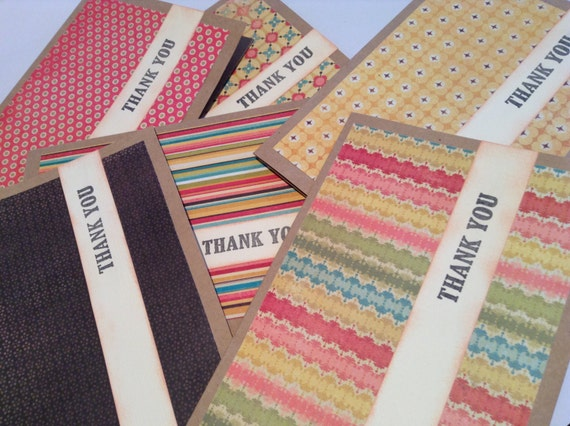 Set of Six Thank You notes/cards, modern patterns, blank, stationary,