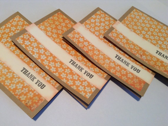 Set of four thank you note cards, stationary, orange, patterned