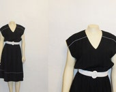 Vintage Dress 70s DW3 Black & White Gingham Plaid Trim V Neck Day Dress Union Made in USA Size Large - 2sweet4wordsVintage