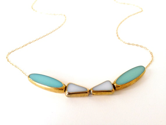Tuxedo Necklace // 24k soft blue and white, 14k delicate gold chain //  jewelry by LilahV