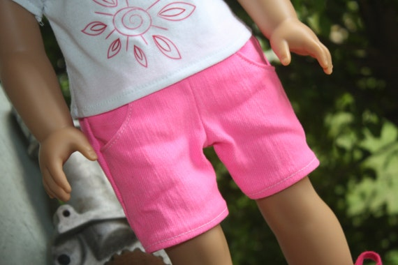 Hot Pink Justice Shorts - For American Girl Doll