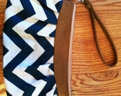 Dark Teal Chevron with Caramel Clutch/Wristlet