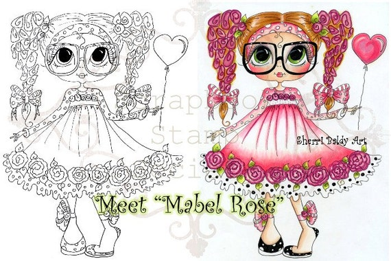 Digital Digi Stamps Big Eye Big Head Dolls Digi Mabel Rose By Sherri Baldy