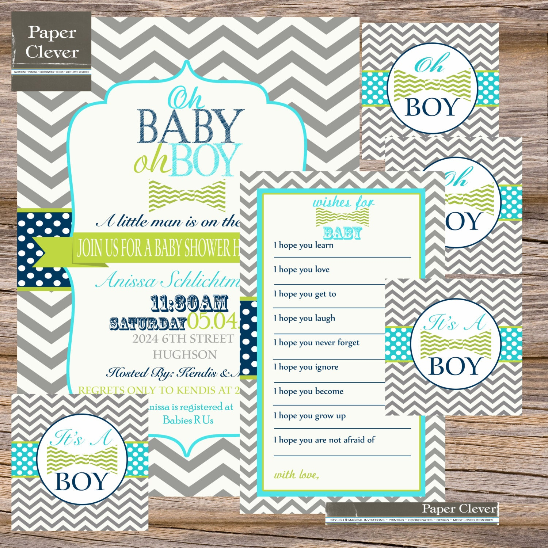 boys baby shower invitation party bundle vintage by