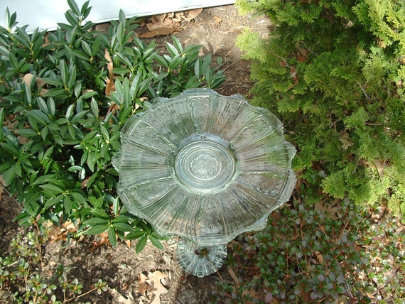 "Garden art.  Bird bath.  Bird feeder.  ""The Penelope"" is made with repurposed upcycled glass."
