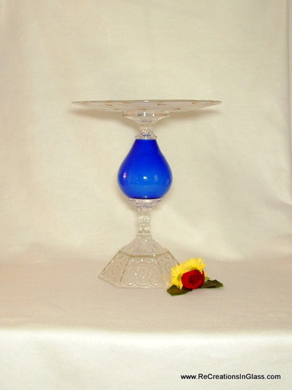"Pedestal cake stand.  Wedding cake plate.  ""The Jane"" is made with vintage glass repurposed upcycled for cake stands."