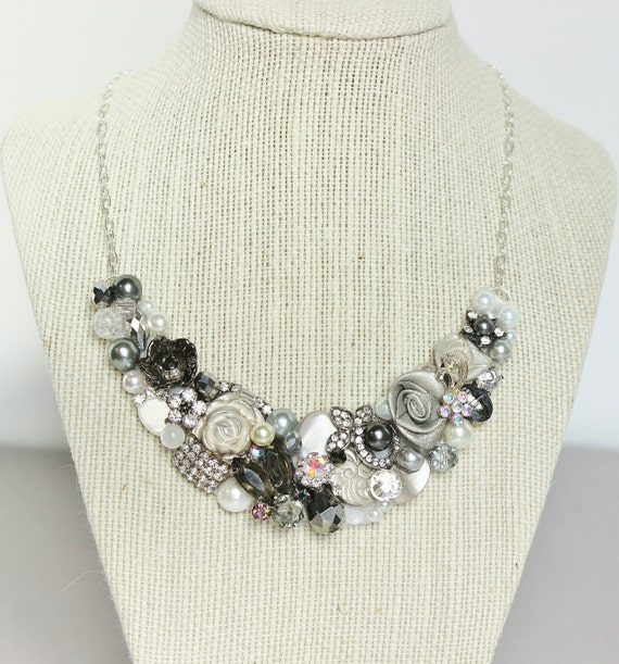 Gray, Silver and Ivory Statement Necklace- Bridal Bib Necklace- Gray Wedding Jewelry with Crystals, and Pearls- Vintage brooch Necklace