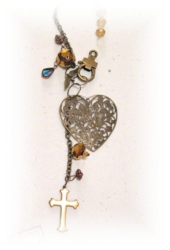 Sale Lace Brass Heart Rear View Mirror Charm, Shiny Earth Tones