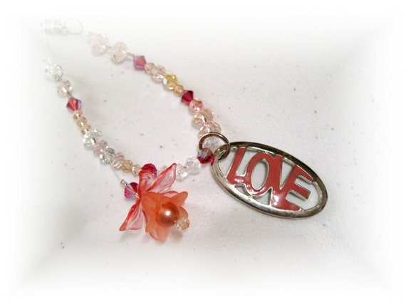 Sale Flower Love, Pinks, Rear View Mirror Charm