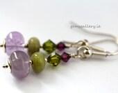 Sterling Silver, Green Garnet & Amethyst Earrings, Simple Earrings, Valentine's Gift - gemsgallery