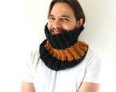 Grey and Golden Knit Cowl - Hand Knit Scarf - Chunky Cowl - Charcoal Grey - Stripes - Men's Cowl - TheSilkMoon