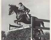 Jumper Retouched - Vintage 1946 Show Jumping Horse and Rider Press Photograph - AllHorseVintage
