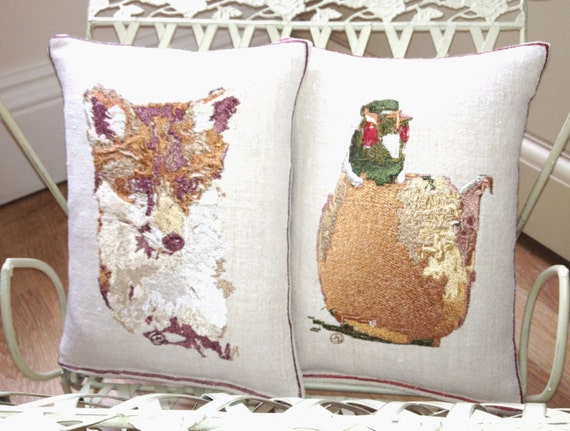 Vintage Linen,  Felix the Fox or Pierce the Pheasant, Embroidery Art Throw Cushion