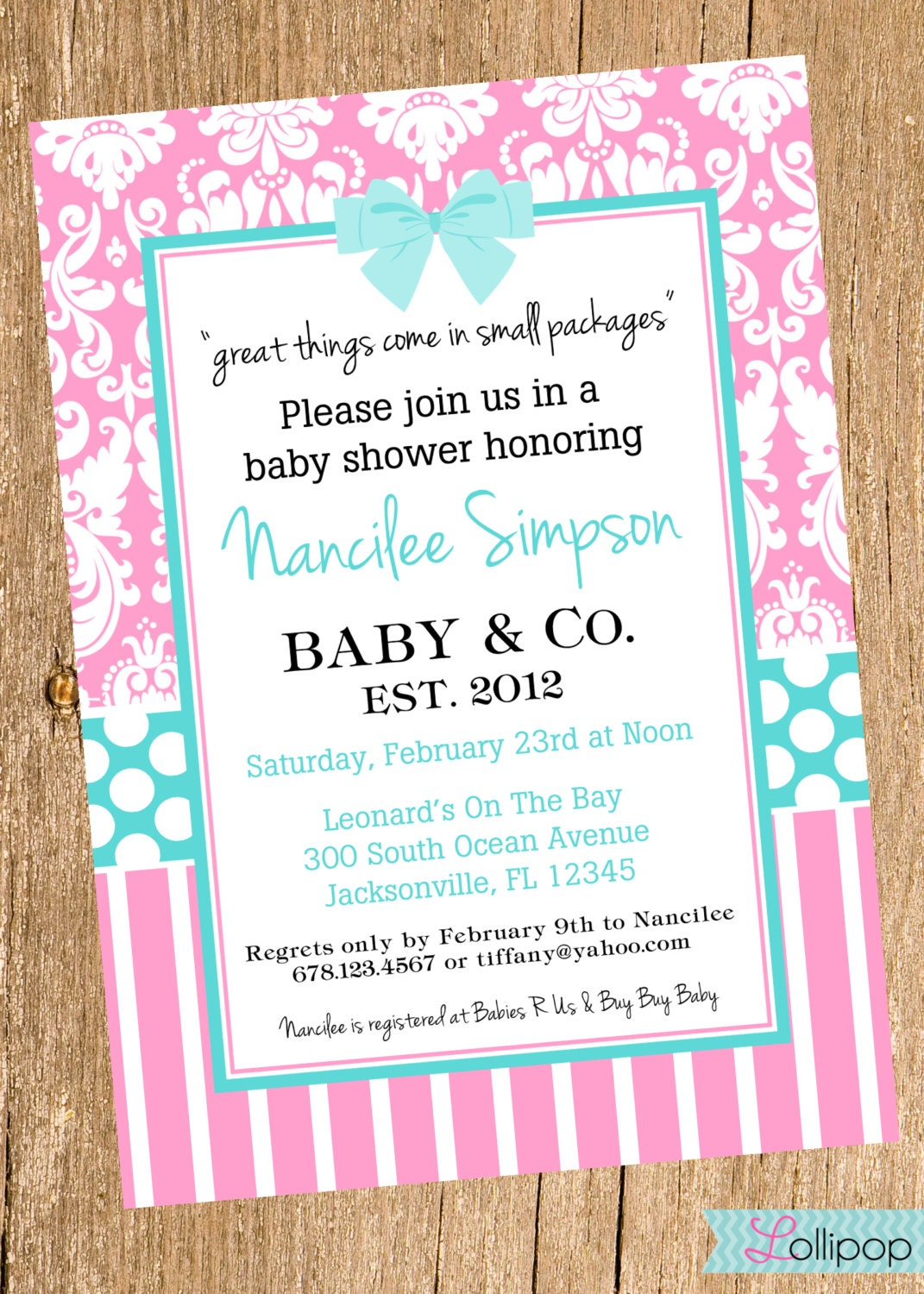 invitation personalized tiffany blue and pink baby shower invite