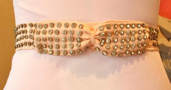 1920s Vintage Satin Belt with Diamantes
