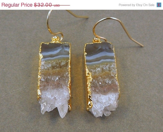 Valentines Day SALE Amethyst Slice Druzy Earrings edged in 24k gold