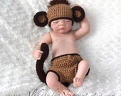 MONKEY BABY COSTUME -  Photo Prop  - Baby Hat and Diaper Cover - acrylic  - Made To Order