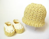 Custom Organic Baby Hat Crochet Baby Booties Made to Order Crochet Baby Hat Girls Summer Hat and Shoes Eco-friendly - LemonLaneOrganics
