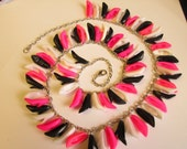 Barbie Shoe  necklace  Black White and Pink pumps  /  ITEM 750