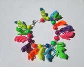 Neon Beaded  Barbie Shoe Bracelet  / ITEM B010
