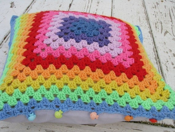 Rainbow crochet granny square pillow cover
