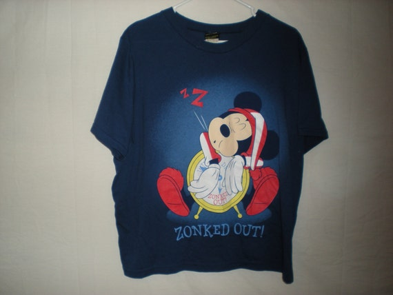 90s sleepy mickey mouse shirt