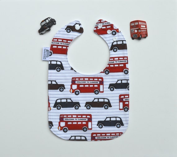 London Baby Bib / British Baby / London Bus / London Taxi