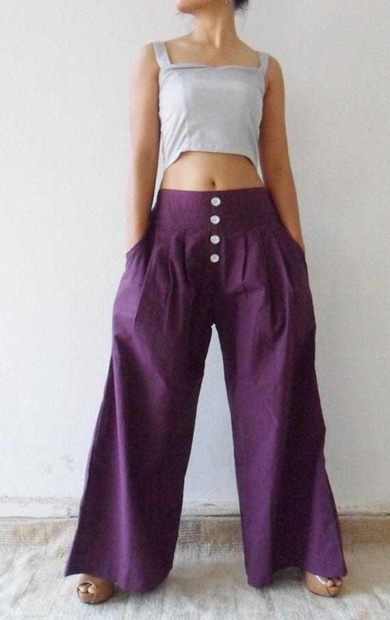 Wide Leg Long  Pants in Violet