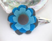 Aqua and Grey Felt Flower Hair Clip with Vintage Button - YesAnastasiaJewelry
