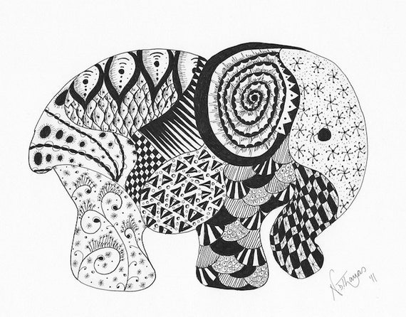 Zentangle, Elephant, good luck, birthday, wedding, anniversary, new baby, valentine