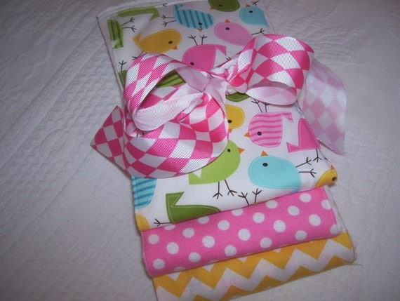 "Diaper Baby  Burp Cloth Set of Three (3) - Urban Zoology ""Spring Chicks"" by Ann Kelle, Polka Dots, and Riley Blake Yellow Chevron"