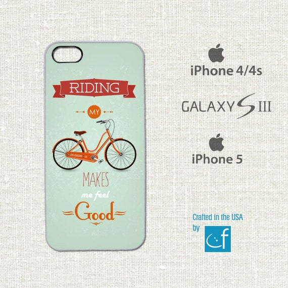 iPhone 4, 4s, 5 or Samsung S3 Case. (Riding is Good) WHITE or BLACK Plastic Slim-Line Body.
