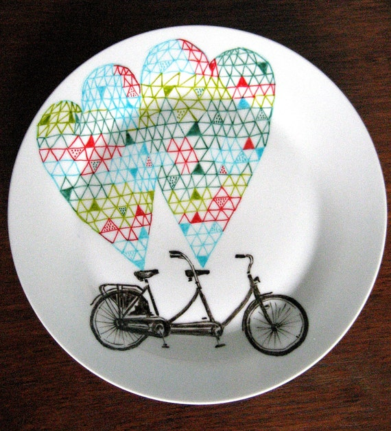 Love Tandem Bicycle Geometric Design Plates hand illustrated porcelain