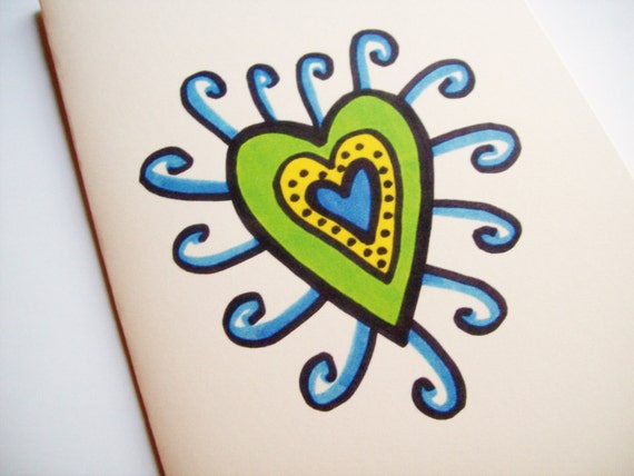 Handmade Greeting Card Yellow Green Blue Heart