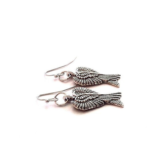 Double Angel Wing Earrings antique silver dangling wing earrings Mother's Day Gift Free US Shipping