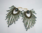Peacock earrings,  seed bead fringe earrings, green blue, ooak seed bead earrings, handcrafted jewelry, 7PM boutique - 7PMboutique