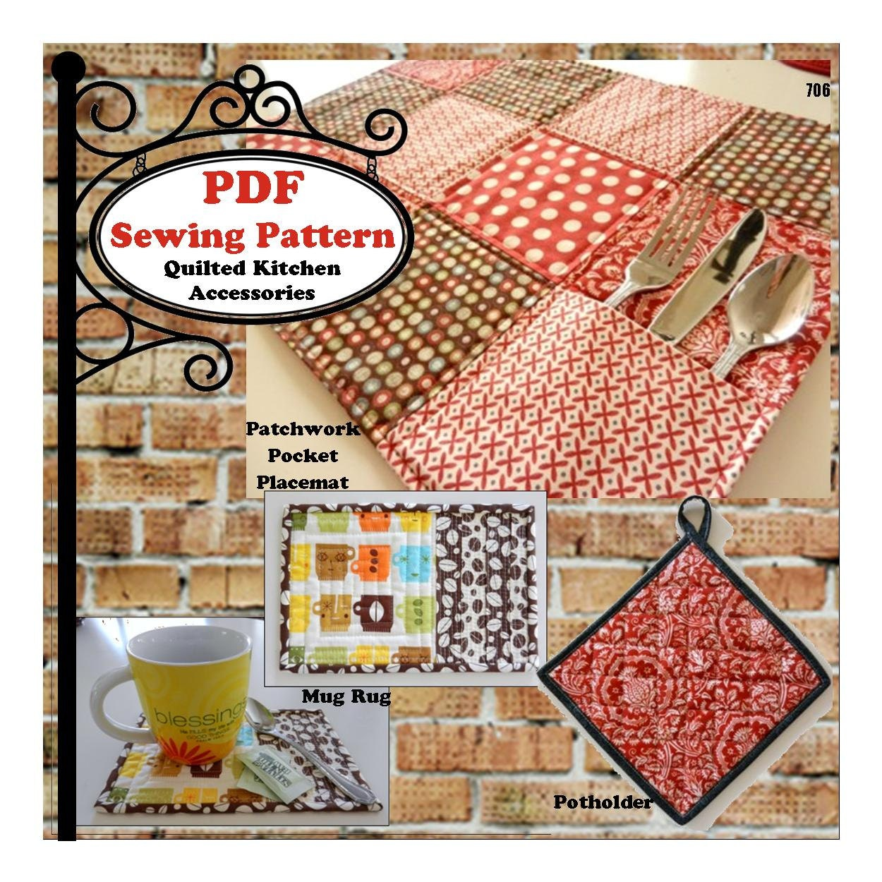 Quilted Kitchen Accessories PDF Sewing by MaggieElizDesigns