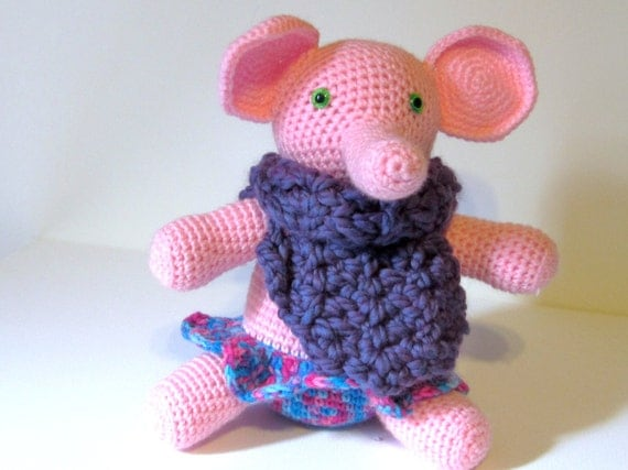 Pink Elephant Nursery Plush, Elephant Amigurumi, Elephant Stuff, Amigurumi Doll, Elephant Plush Toy, Elephant Softie, Crochet Baby