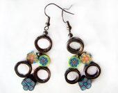 HANDMADE Flower Earrings, Spring Flowers Circles Earrings, GYPSY Boho Earrings, Unique Design Earrings, BEST Gift For Her, Gift Ideas